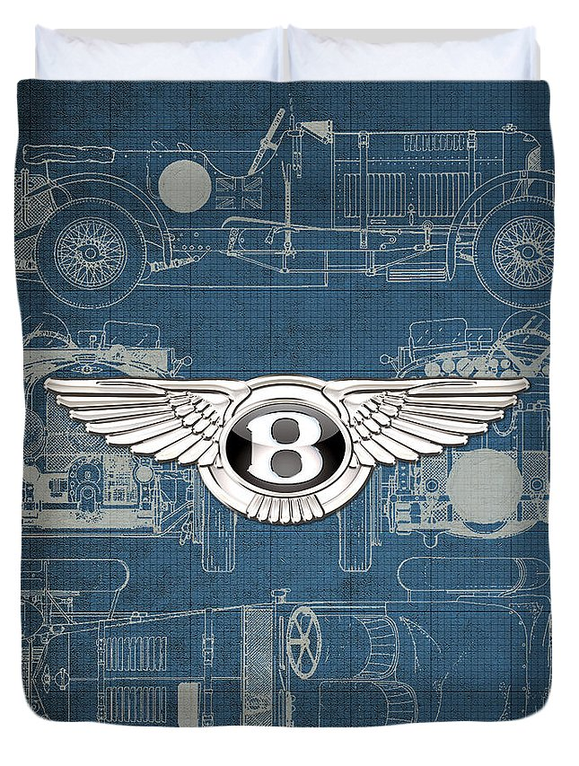 �wheels Of Fortune� By Serge Averbukh Duvet Cover featuring the photograph Bentley - 3 D Badge over 1930 Bentley 4.5 Liter Blower Vintage Blueprint by Serge Averbukh