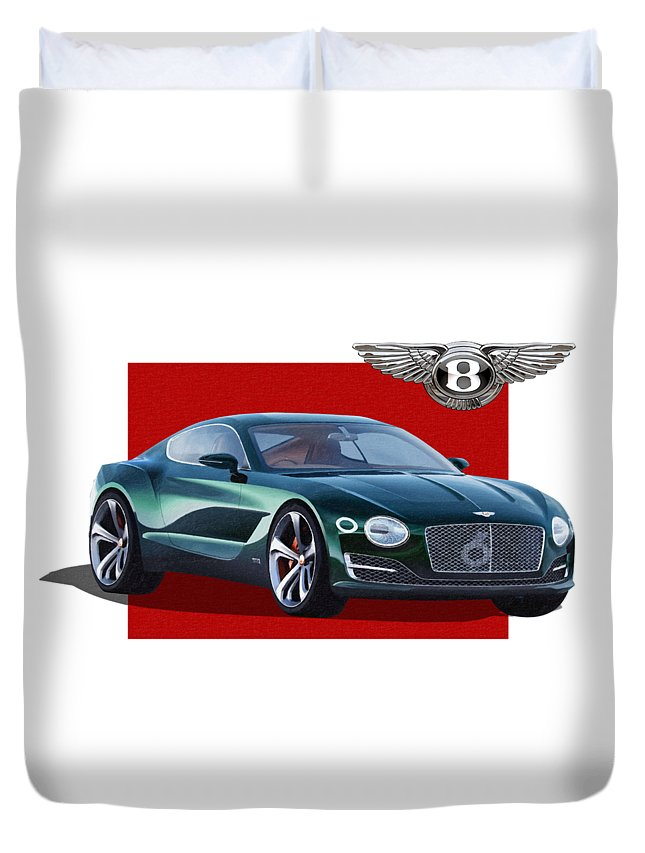�bentley� Collection By Serge Averbukh Duvet Cover featuring the photograph Bentley E X P 10 Speed 6 with 3 D Badge by Serge Averbukh