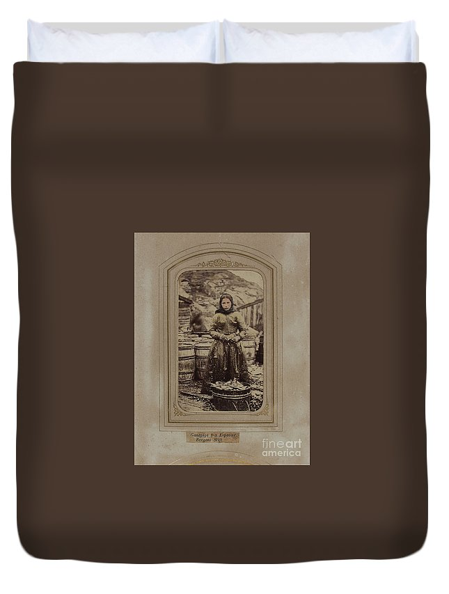 Ganepige From Espev�r Duvet Cover featuring the painting Bergens Stift by MotionAge Designs