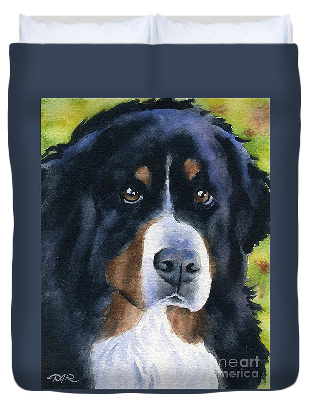 Bernese Mountain Dog Duvet Cover featuring the painting Bernese Mountain Dog by David Rogers