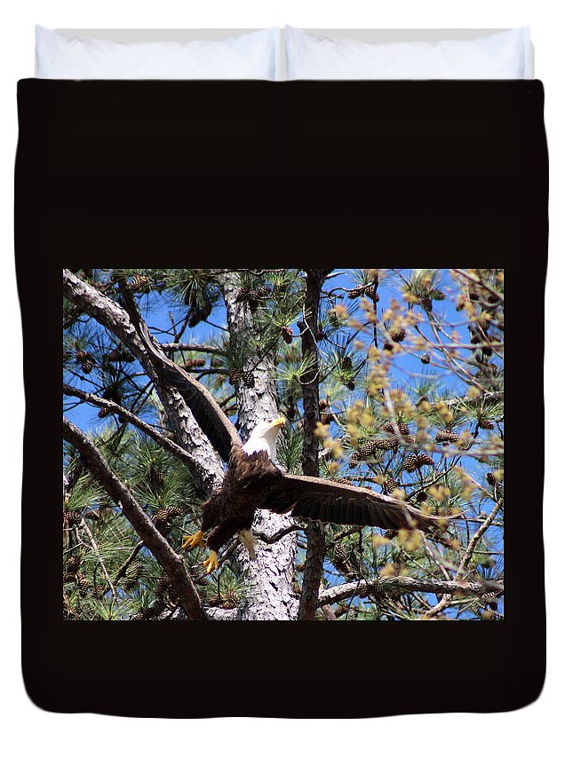 Eagle Duvet Cover featuring the photograph Berry College Eagle Mom by Amara Dempsey