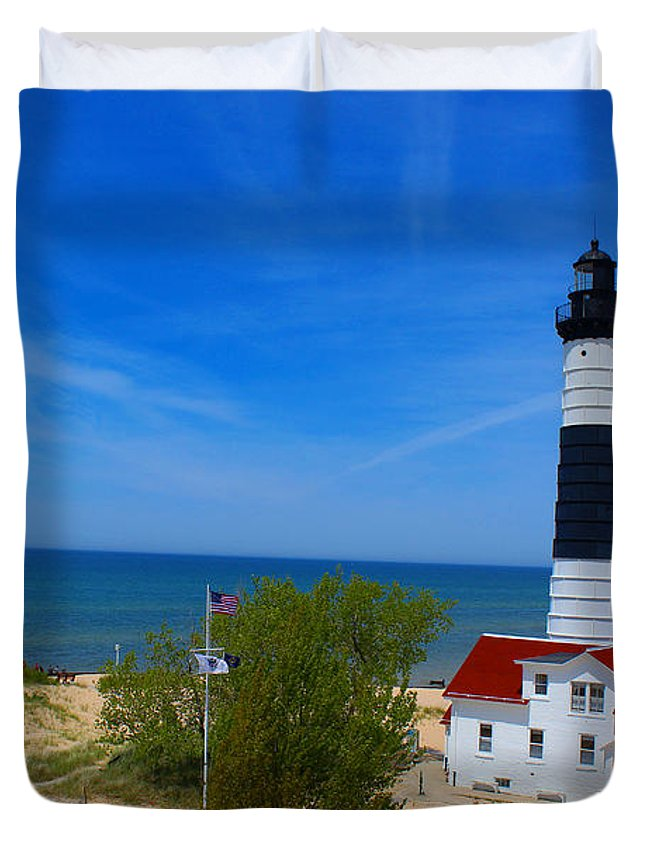 Lighthouse Duvet Cover featuring the photograph Big Sable Point Lighthouse by Michael Rucker