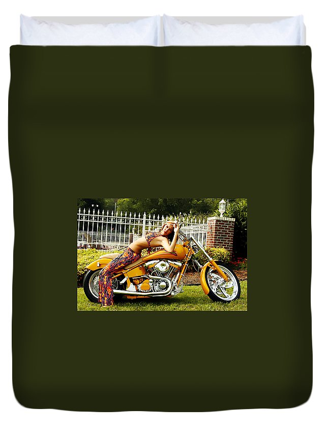 Clay Duvet Cover featuring the photograph Bikes And Babes by Clayton Bruster