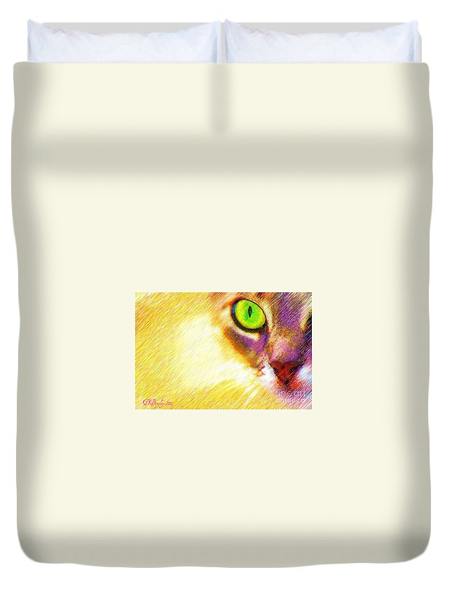 Cat Duvet Cover featuring the photograph Bink by Donna Bentley