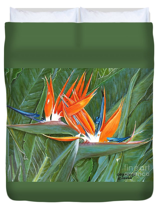 Floral Duvet Cover featuring the painting Birds Of Paradise by Larry Geyrozaga