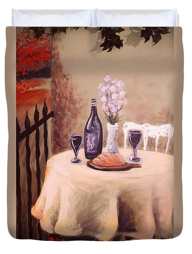 Mural Duvet Cover featuring the painting Bistro Mural Detail 3 by Rachel Christine Nowicki