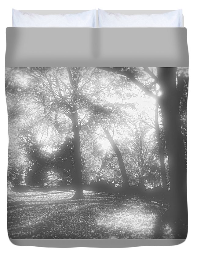 Root River Parkway Duvet Cover featuring the photograph Black And White by Debbie Nobile