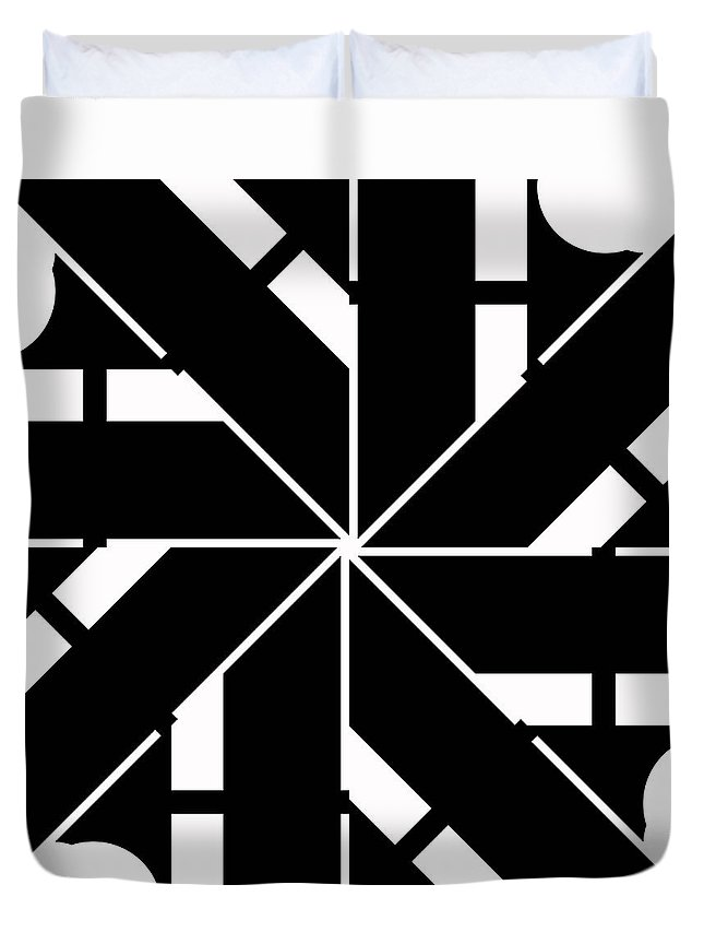 Geometric Duvet Cover featuring the digital art Black And White Geometric by David G Paul