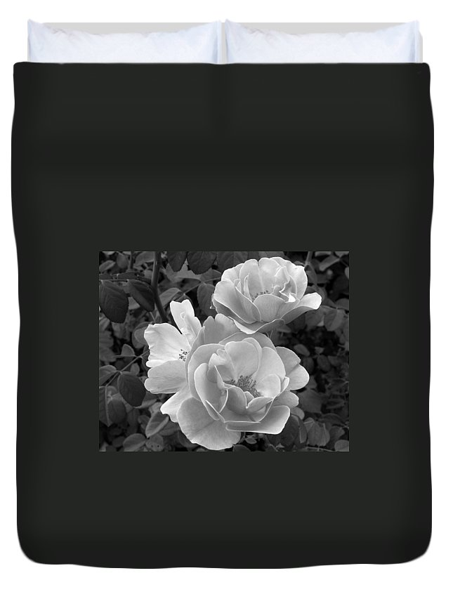 Rose Duvet Cover featuring the photograph Black And White Roses 2 by Amy Fose