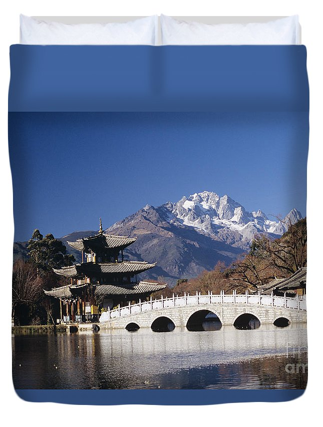 Architecture Duvet Cover featuring the photograph Black Dragon Pool Park by Gloria & Richard Maschmeyer - Printscapes