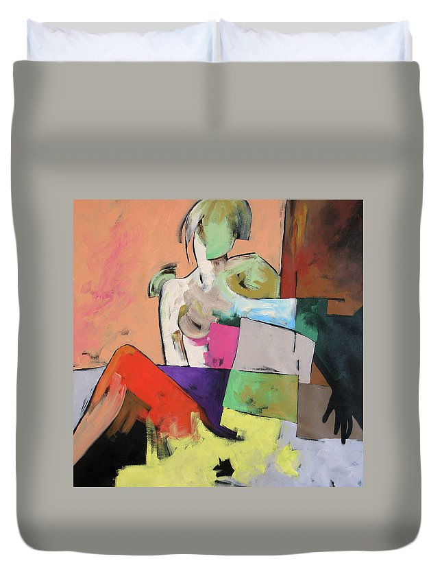 Original Painting Duvet Cover featuring the painting Black Glove by Linda Monfort