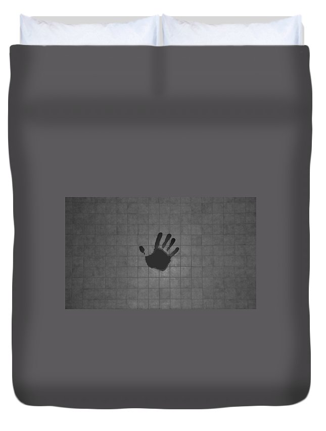 Hand Print Duvet Cover featuring the photograph Black Hand by Rob Hans
