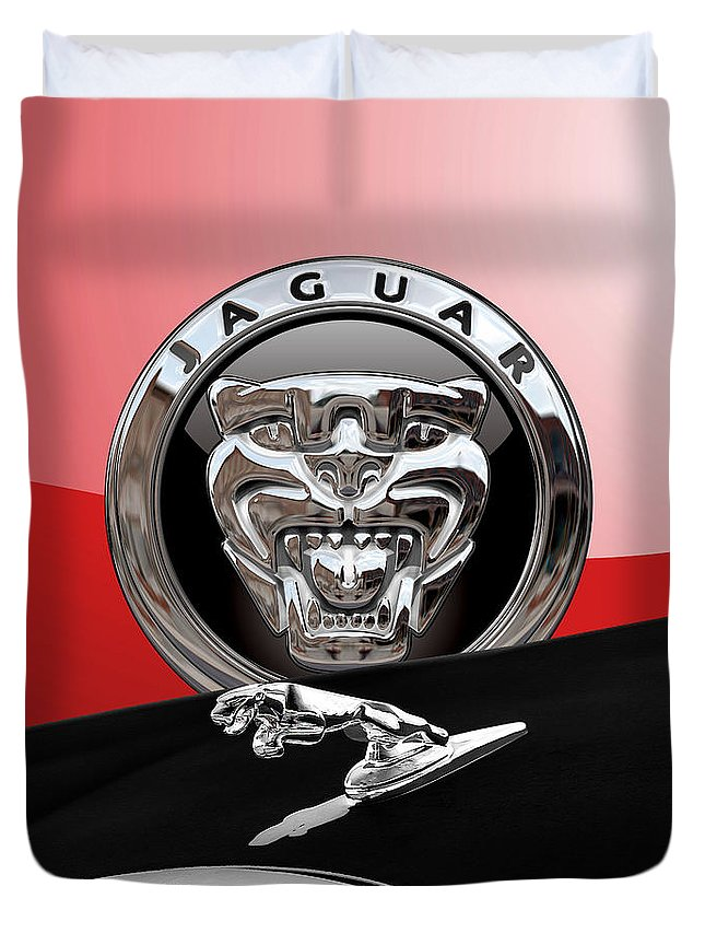 'auto Badges' Collection By Serge Averbukh Duvet Cover featuring the photograph Black Jaguar - Hood Ornaments and 3 D Badge on Red by Serge Averbukh