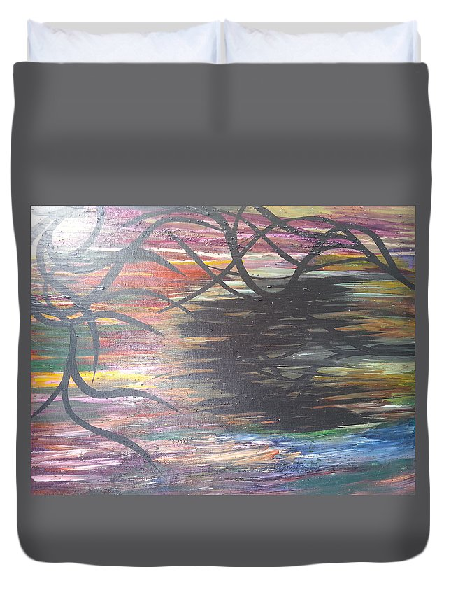 Landscape Duvet Cover featuring the painting Black Dream by Kelly Carpenter