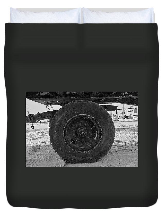 Black And White Duvet Cover featuring the photograph Black Wheel by Rob Hans