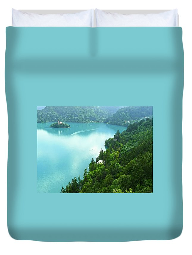 Island Duvet Cover featuring the photograph Bled by Daniel Csoka