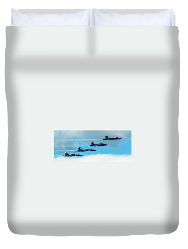 Aircraft Duvet Cover featuring the pyrography Blue Angels Formation by Javier Flores