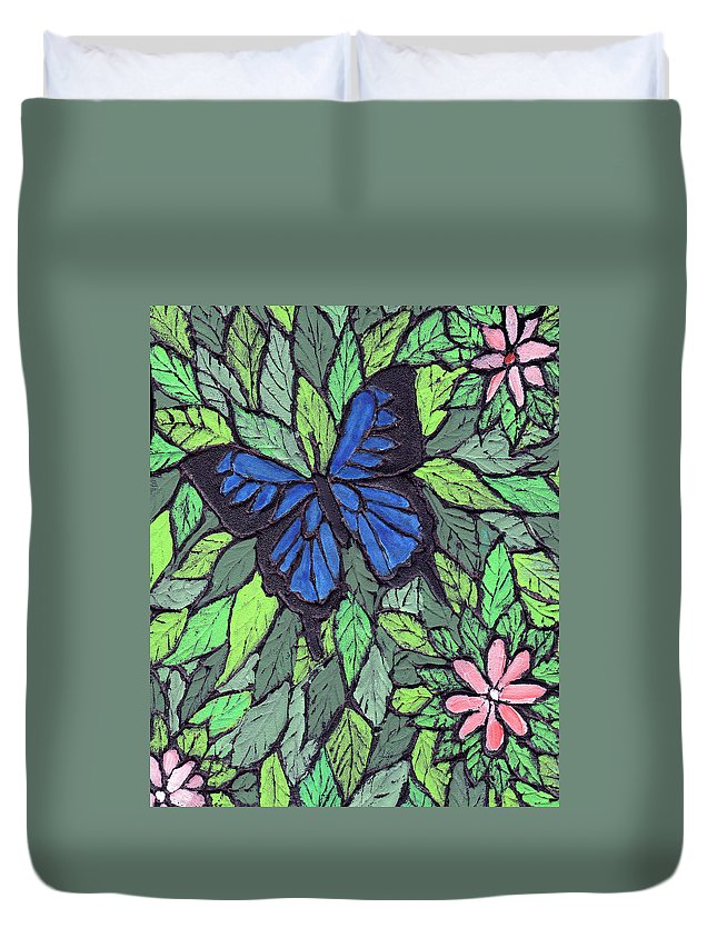 Butterfly Duvet Cover featuring the painting Blue Butterfly Two by Wayne Potrafka