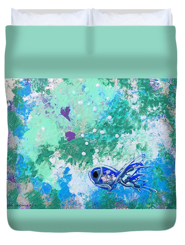 Fish Duvet Cover featuring the painting 1 Blue Fish by Gina De Gorna