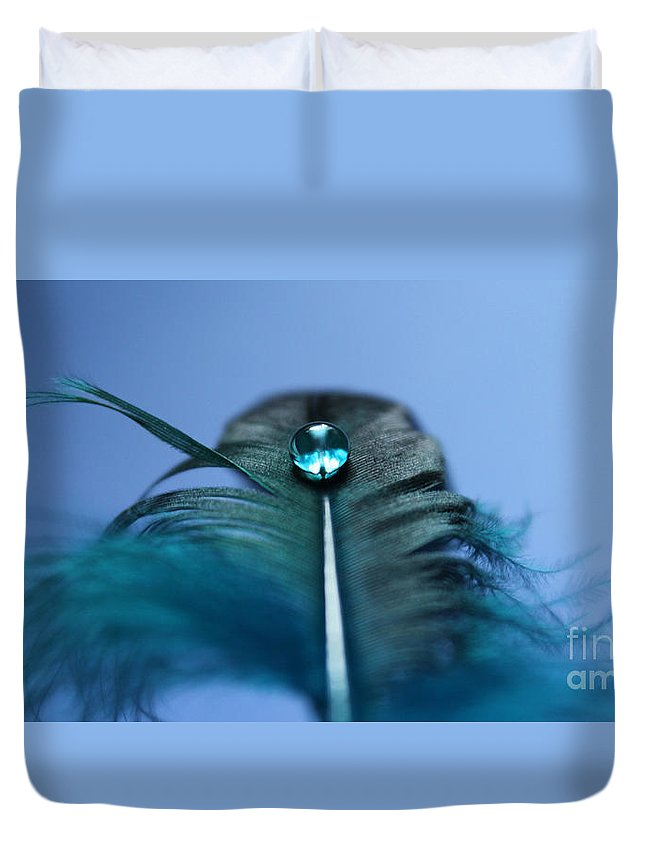 Feather Duvet Cover featuring the photograph Blue Flight II by Krissy Katsimbras