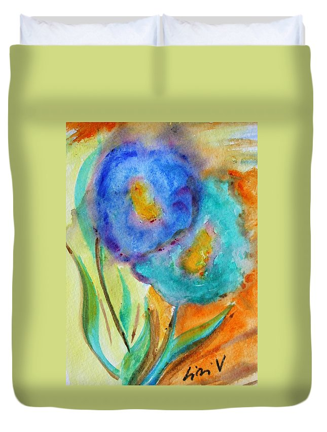 Flowers Duvet Cover featuring the painting Blue Flowers by Luiza Vizoli