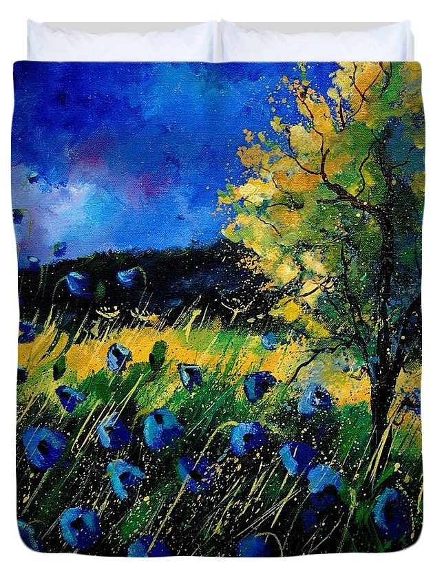 Poppies Duvet Cover featuring the painting Blue Poppies by Pol Ledent