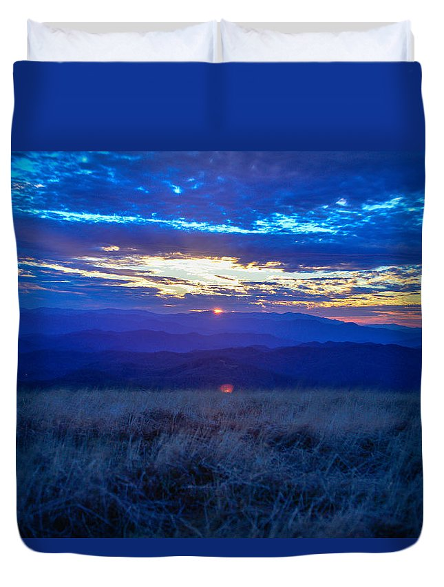 Blue Ridge Mountains Duvet Cover featuring the photograph Blue Ridge Sunset by Ryan Phillips