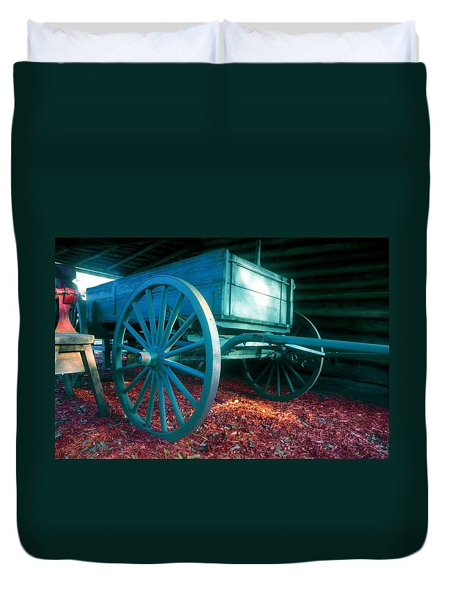 Blue Duvet Cover featuring the photograph Blue Wagon by David Lee Thompson