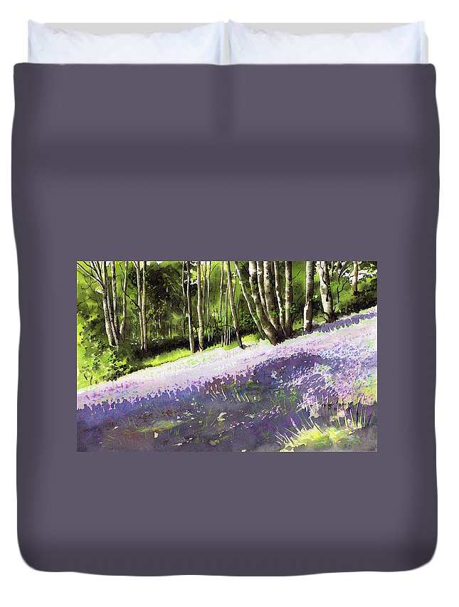 Wood Duvet Cover featuring the painting Bluebell Wood by Paul Dene Marlor