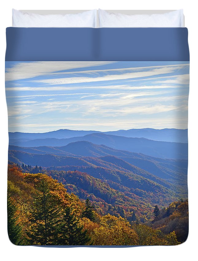 Ann Keisling Duvet Cover featuring the photograph Blue Ridge Parkway View by Ann Keisling