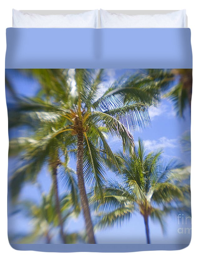 Blue Duvet Cover featuring the photograph Blurry Palms by Ron Dahlquist - Printscapes