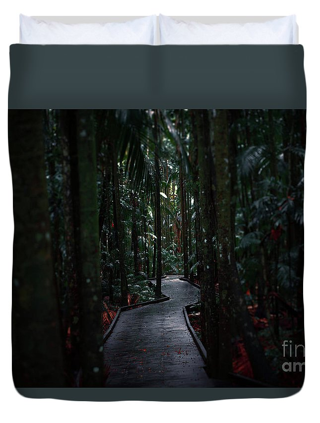 Rainforest Duvet Cover featuring the photograph Boardwalk Leading Through The Dark Rainforest. by Rob D