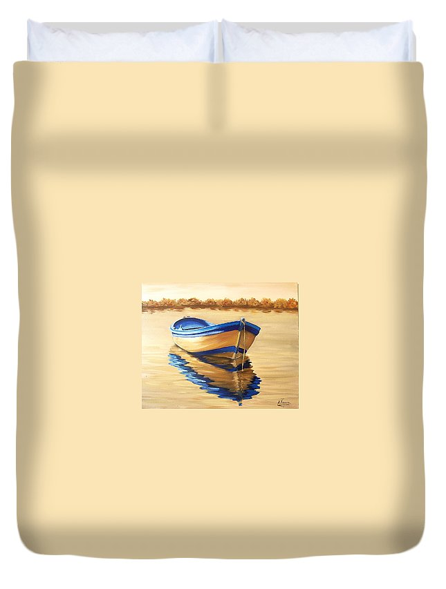 Still Life Duvet Cover featuring the painting Lake by Natalia Tejera