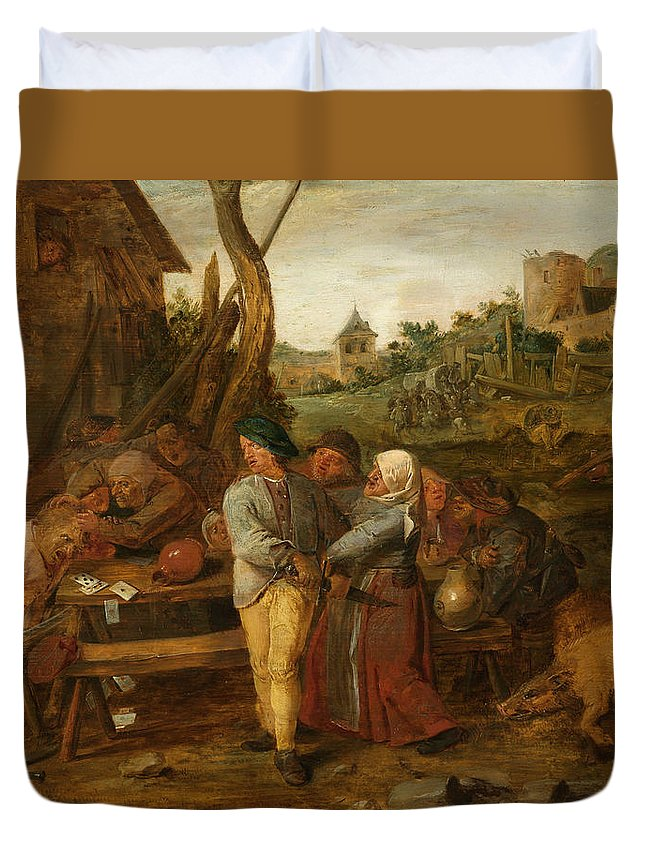 Adriaen Brouwer Duvet Cover featuring the painting Boer Fisticuffs by Adriaen Brouwer