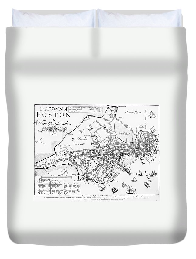 1722 Duvet Cover featuring the photograph Boston Map, 1722 by Granger