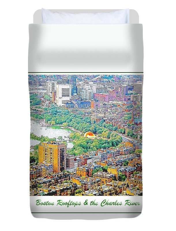 Usa Duvet Cover featuring the digital art Boston Rooftops And The Charles River by A Gurmankin