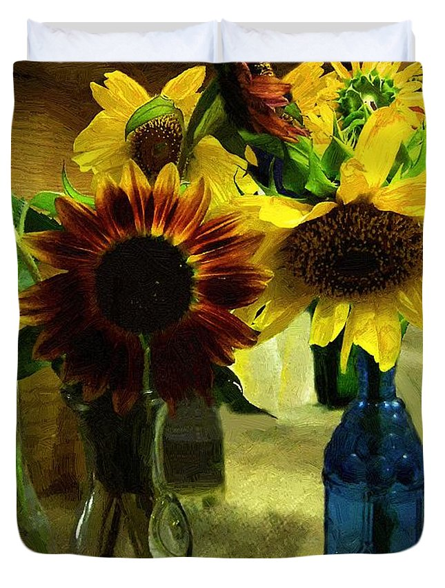 Still Life Duvet Cover featuring the painting Bottled Sunshine by RC DeWinter