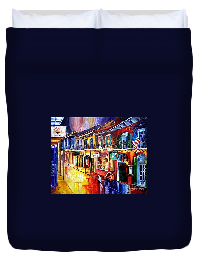 New Orleans Duvet Cover featuring the painting Bourbon Street Red by Diane Millsap
