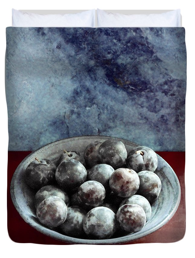 Bowl Duvet Cover featuring the photograph Bowl Of Plums Still Life by Sarah Black