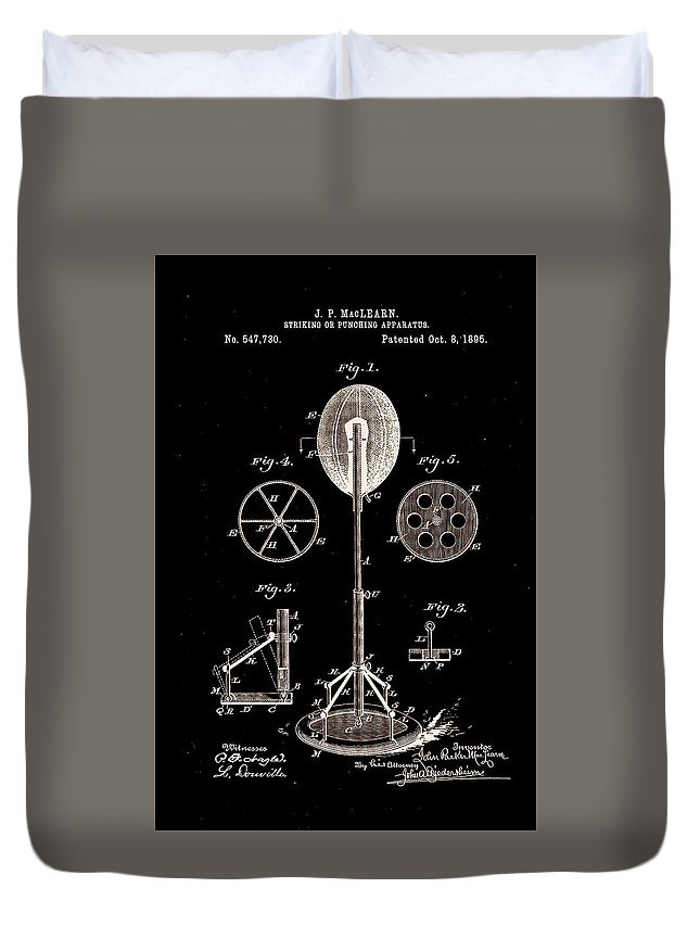 Boxing Duvet Cover featuring the photograph Boxing Punch Bag Patent 1885 by Claire Doherty