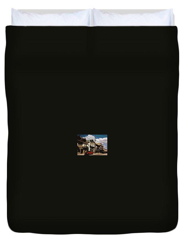 Brady Street Duvet Cover featuring the photograph Brady Street Scene by Anita Burgermeister