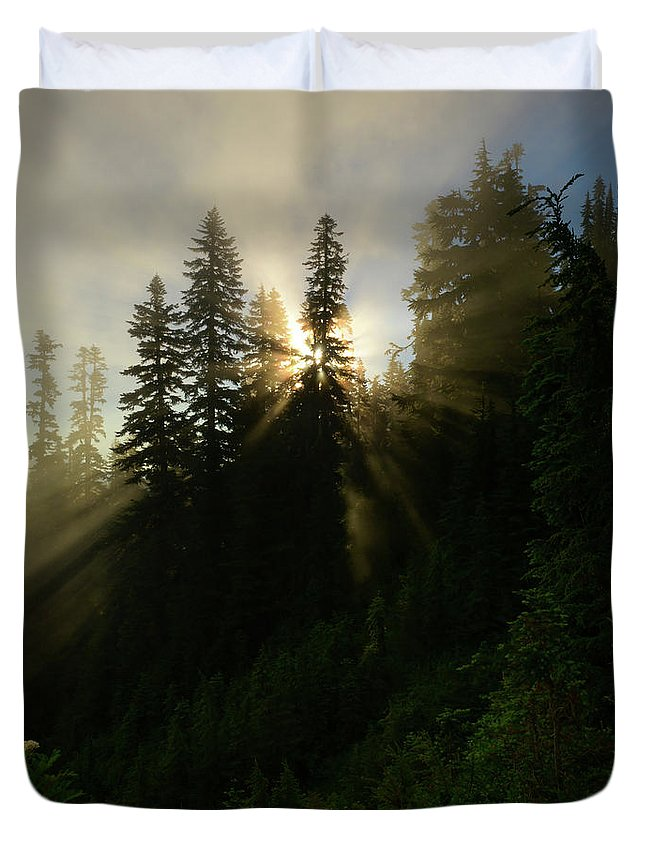 Sunbeams Duvet Cover featuring the photograph Breaking Dawn by Mike Dawson