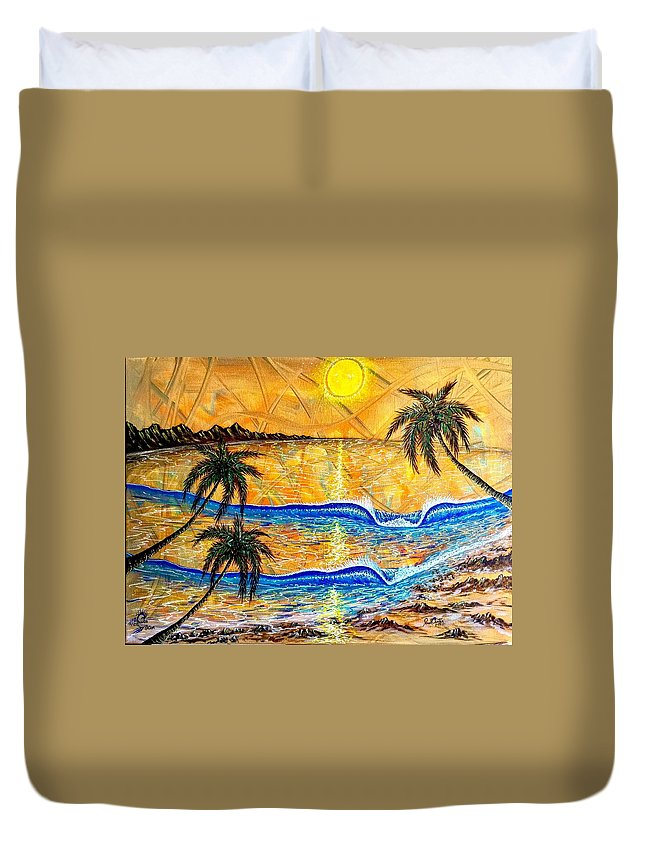 Sunset Duvet Cover featuring the painting Breathe In The Moment 1 by Paul Carter
