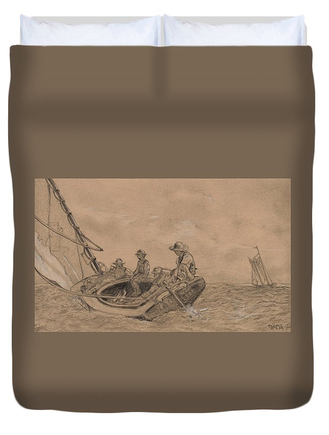 Winslow Homer Duvet Cover featuring the drawing Breezing Up by Winslow Homer