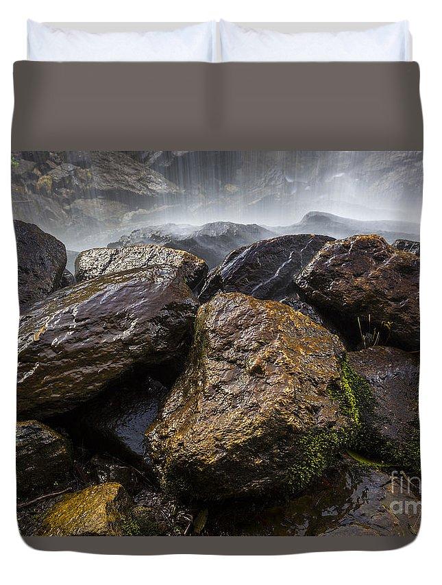 Appalachian Duvet Cover featuring the photograph Bridal Veil Falls - Highlands, Nc by John MacLean