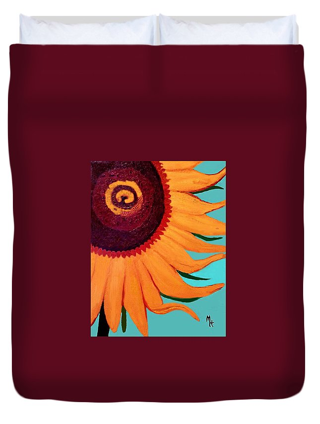 Sunflower Duvet Cover featuring the painting Bright Happy Sunflower by Margaret Harmon