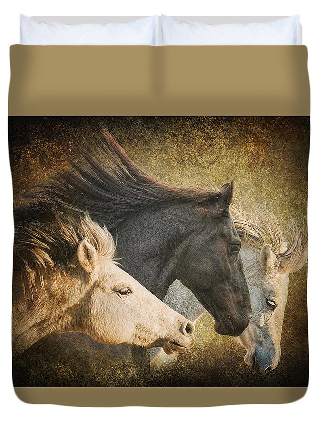 Equine Duvet Cover featuring the photograph Brings The Thunder by Ron McGinnis