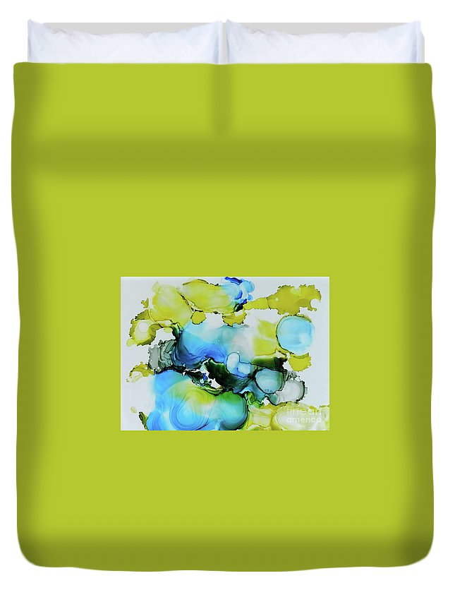 Abstract Duvet Cover featuring the painting Bubble Collection by Sean Brushingham