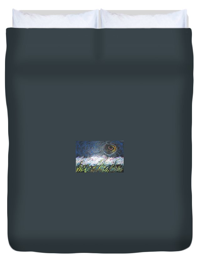 Aabstract Paintings Duvet Cover featuring the painting Buckwheat Field by Seon-Jeong Kim