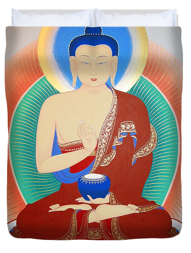 Thangka Duvet Cover featuring the painting Buddha Kashyapa by Sergey Noskov
